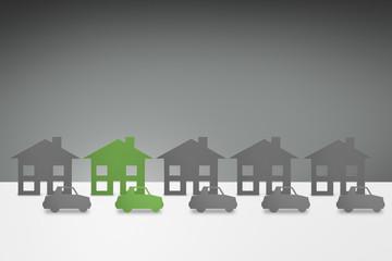 environmental Green family House and Car concept