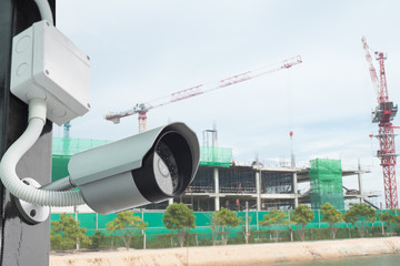 cctv camera in secure construction site