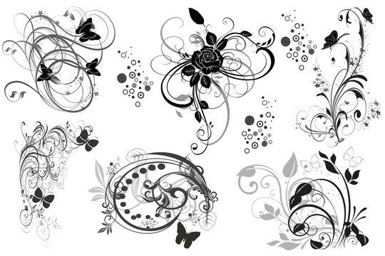 multi florales noires