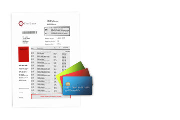 Credit Cards on Bank Statements with copy space