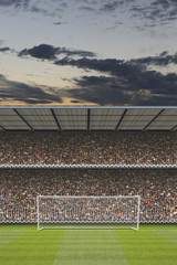 computer generated football stadium stand with crowd