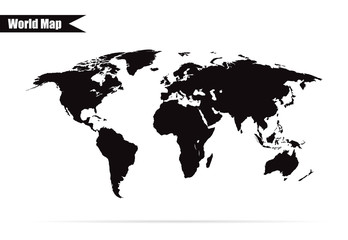 world map black with shadow