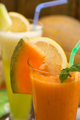 Cantaloupe melon juice with mint and lemon
