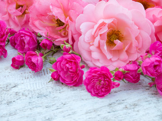 Pink curly roses and small vibrant pink roses
