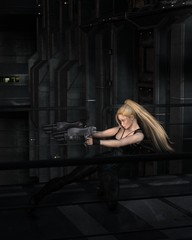 Science fiction illustration of a blonde female warrior character fighting in a dark city street at night, 3d digitally rendered illustration