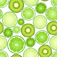 Seamless background with kiwi and lime slices. Vector illustration.