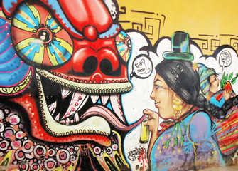 Graffiti en una pared de la calle de la ciudad de La PAz.