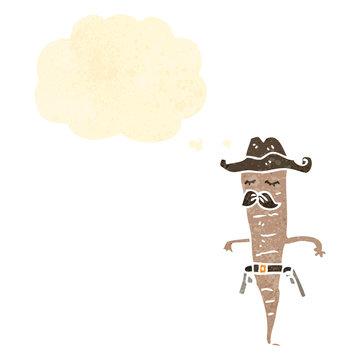 retro cartoon cowboy vegetable