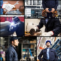 Portraits and details of people at work