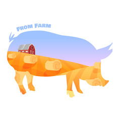 Pig silhouette with double exposure of beautiful farm landscape