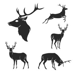 Set of black forest deer silhouettes. Suitable for logo, emblem