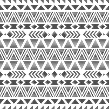 Ethnic seamless pattern. Geometrical watercolor print