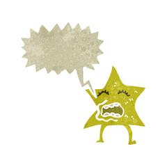 retro cartoon star with speech bubble