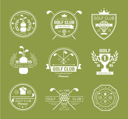 Set of golf club logos, labels and emblems