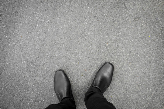 Black shoes standing on the floor