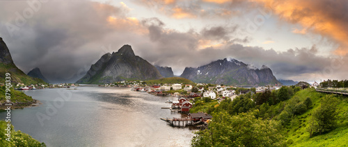 Wall mural Panorama of  mountains and  Reine in Lofoten islands, Norway