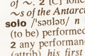 Dictionary definition of word solo