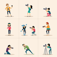 Vector creative character design  posing while photographer
