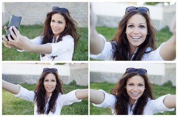 Four photos of pretty brunette by becoming a photo with mobile