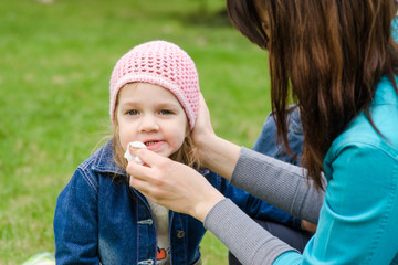 Mother wipes his mouth with a napkin girl on picnic