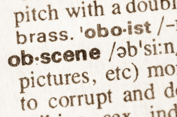 Dictionary definition of word obscene