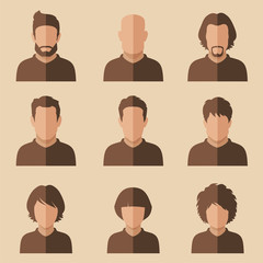 set of flat avatar, vector people icon, user faces design illustration