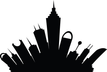 Cartoon skyline silhouette of a futuristic city.