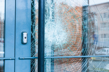 Broken glass front door