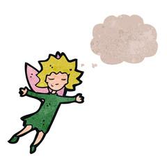 retro cartoon fairy with thought bubble