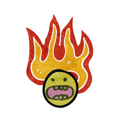 flaming face symbol retro cartoon