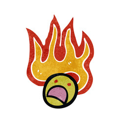 flaming face symbol retro cartoon