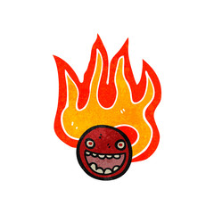 retro cartoon flaming emoticon face