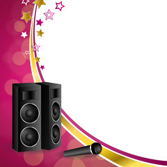 Background abstract karaoke microphone loudspeaker star pink yellow gold ribbon frame illustration vector
