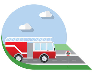 Flat design vector illustration city Transportation, fire truck, side view icon