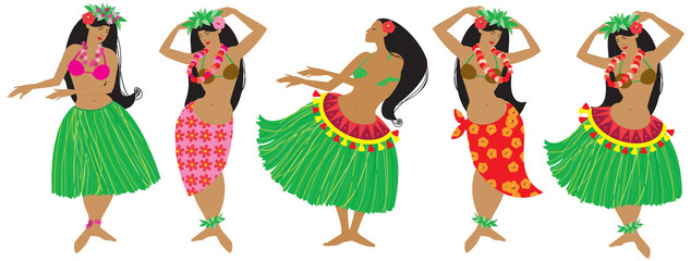 Vector illustration of hula dancers