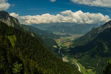 Interlaken village and valley summer landscape