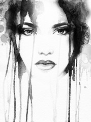 Photo Blinds Watercolor Face woman portrait .abstract watercolor