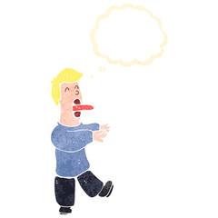 retro cartoon sleep walking man with thought bubble