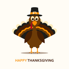 Vector Illustration of a Happy Thanksgiving Celebration Design with Cartoon Turkey