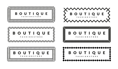 Beautiful Creative Borders Design Template Set For Hipsters Fashion Boutique