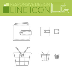 Line icons. Responsive design. Wallet and shopping basket.
