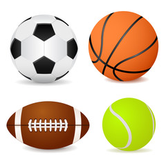 Basketball ball, soccer ball, tennis ball and american football