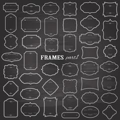 Blank frames mega set on chalkboard background.