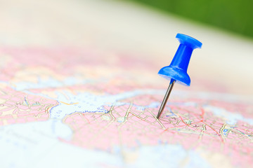 Travel destination, blue  pin on the map