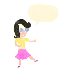 retro cartoon woman with glasses and speech bubble
