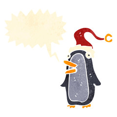 retro cartoon penguin with speech bubble