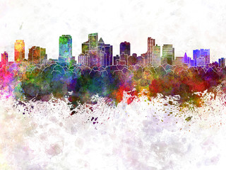 Fort Lauderdale FL skyline in watercolor background