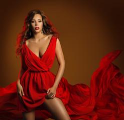 Sexy Fashion Woman Red Dress, Glamour Beauty Girl, Dynamic