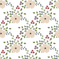 Seamless background with red flowers on a white backgroun