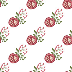 Seamless background with red roses on a white background
